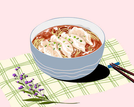 realistic noodles vector illustration, a bowl of steamed dumpling and noodles with soup on the table, shopstick and flower decoration.