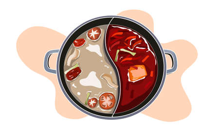 Hot pot in two style of soup, spicy and non spicy soup. Food vector illustration on white background.