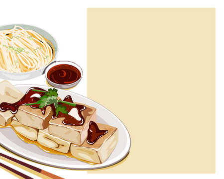 Isolated set of Stinky tofu in a dish and a bowl of noodles. The famous menu in China night market. Close up asian food vector illustration on white background.