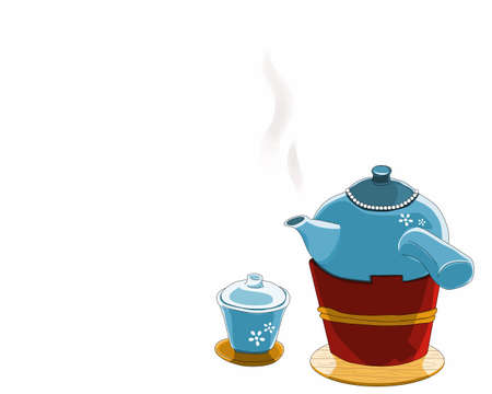 A Hot Ceramic Teapot on the tea stove and a ceramic cup of tea. Isolated retro tea set on white background. Close up drawing vector illustration.