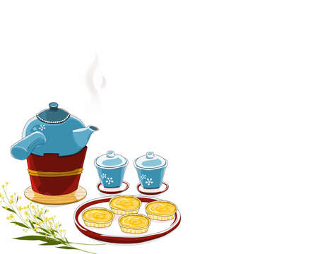 A Hot Ceramic Teapot on the tea stove and a couple of ceramic tea cup and a dish of Egg Custard tarts. Isolated retro tea set on white background. Close up drawing vector illustration.