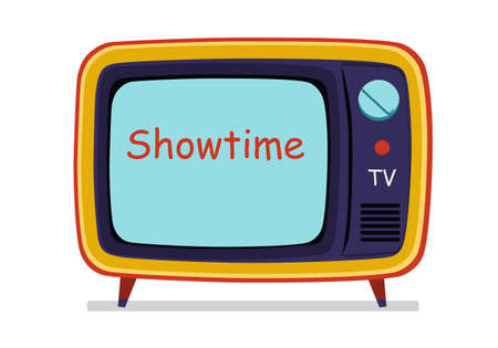 Isolated old style television on white background. Object frame vector illustration
