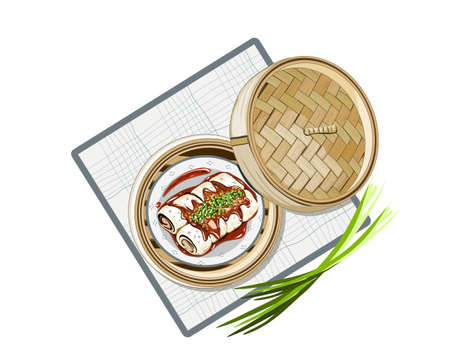 Isolated steamed spring roll in the bamboo basket steamer with lid on white background. Food container vector illustration.