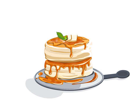 Isolated Fluffy pancake with cheese and honey on a plate. Japanese pancake. Close up realistic vector illustration on white background.