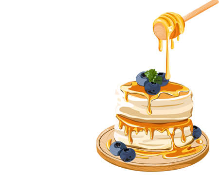 Isolated Fluffy pancake with blueberries topping and honey drips from wooden dripper on a wooden plate. Japanese pancake. Close up realistic vector illustration on white background. Vector Illustration