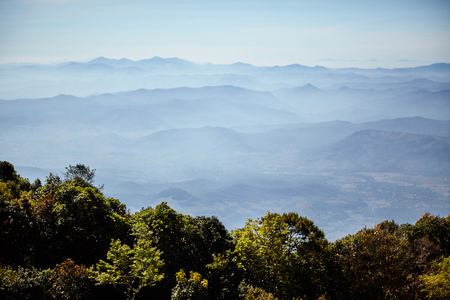 The mountains in different layers view point from Doi Inthanon national park