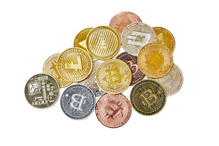 A mix group of physical cryptocurrency, Bitcoin, Ethereum, Litecoin, Dash stack on white background, Isolated with clipping path, Top view