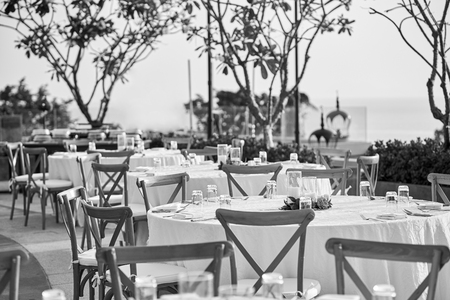 The Black And White Of Wedding Reception Dinner Table Setup,.. Stock ...