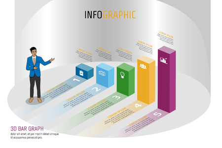 Vector illustration Infographic template in isomatic bar graph layout design for presentation, business meeting, marketing, techonology workflow, planning or any purpose. Illustration