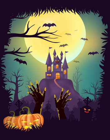 Happy Halloween night party poster design, Zombie hand rising out of the grave in cemetery, graveyards with pumpkins, Creepy castle, Full moon background with tree frame with copy space Illustration