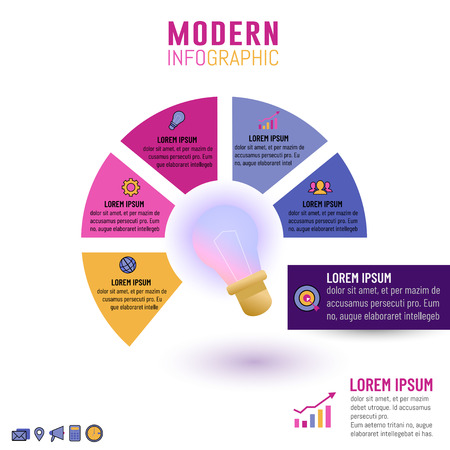 Vector illustration of light bulb infographic template for business idea concepts with circle 5 options, steps, processes or parts. Ilustração