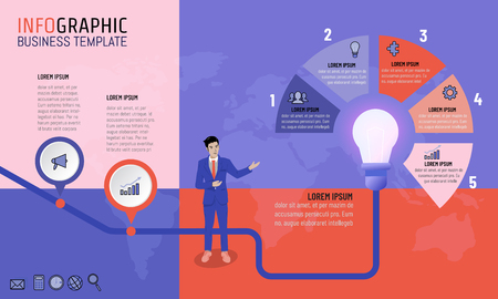 Vector illustration of business man infographic presentation template with 2 and 5 options timeline planning strategy for business concept. Light bulb idea for timeline, milestone, progress, diagrams. Stock Illustratie