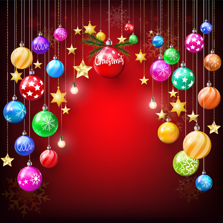 Colorful shiny and glitter star and Christmas balls hanging decoration on red background with golden snowflakes, Merry Christmas greeting party concept with copy space.