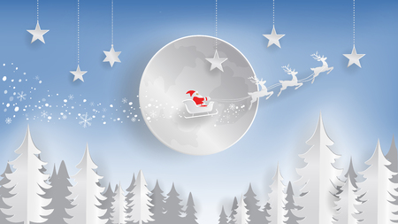 Digital paper cut style, Merry Christmas and Happy New Year, Santa Clause and reindeer flying over the moon in the Christmas night with hanging star, Vector illustration, Digital craft, Paper art. Ilustração