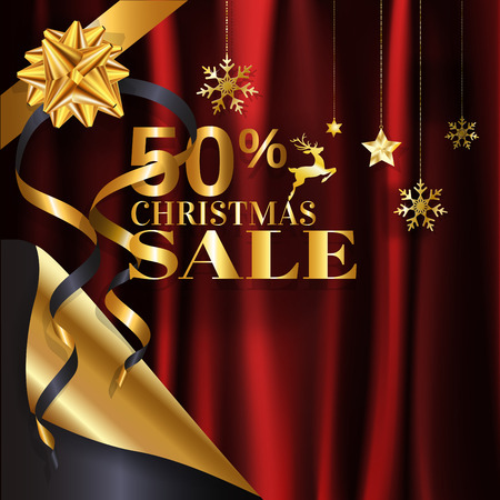 Elegance gold Christmas sale banner poster with page curl design with 50% in golden color on red crumpled satin cloth background with copy space. EPS10 Vector illustration.