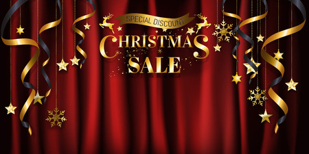 Gold Christmas background sale banner design ready to use for poster, web banner, advertisement with special discount in gold on red crumple satin cloth background with copy space. EPS10 vector illustration. Vettoriali