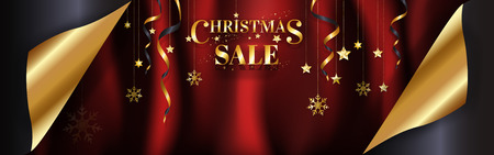 Luxury Christmas sale banner page curl design ready to use for poster, web banner, advertisement with special discount in gold on red satin background with copy space. EPS10 vector illustration.