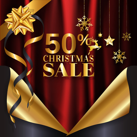 Red gold Christmas sale banner background page curl design ready to use for poster, web banner, advertisement with special discount with copy space. EPS10 vector illustration.
