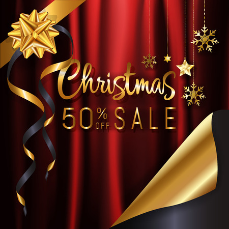 Red gold Christmas calligraphy sale banner background page curl design ready to use for poster, web banner, advertisement with special discount with copy space. EPS10 vector illustration.