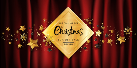 Elegant Christmas calligraphic design for sale poster banner promotion on gold gift box decorated with golden snowflakes and glitter stars on dark red satin background with copy space. Vector illustration.