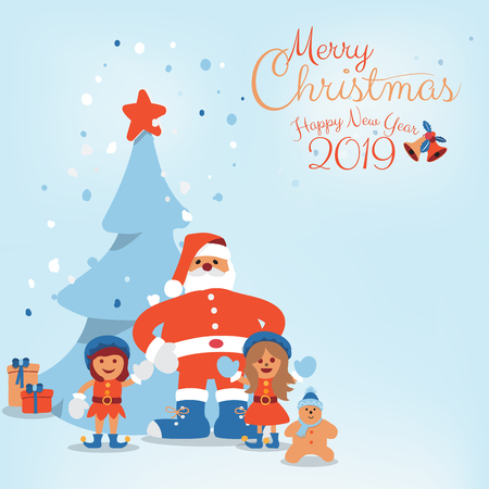 Cute cartoon character of Santa Clause, Kids, candy, cookie and Christmas tree, snow with calligraphy hand written of Merry Christmas and Happy New Year 2019. Vector illustration. Vettoriali
