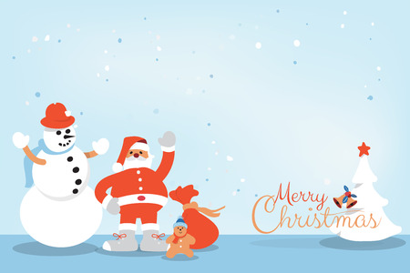 Merry Christmas and Happy New Year calligraphy hand written greeting card with Snowman, Santa Clause, Candy, Christmas tree holiday cartoon character with copy space. Vector illustration.
