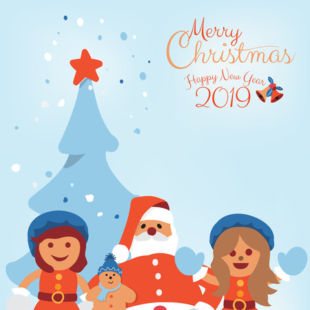 Merry Christmas and Happy New Year 2019 holidays greeting card with cartoon chracter of Santa Clause and Kids with Christmas tree background with copy space. Vector illustration.