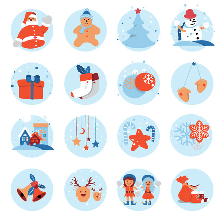 Merry Christmas and Happy New Year flat icon design with cute cartoon character for holiday greeting card decoration or banner, flyer. Vector illustration. Vettoriali