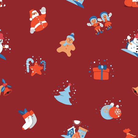 Merry Christmas seamless background with Santa Clause, Kids and Christmas tree. Holiday cute cartoon character. Vector illustration.
