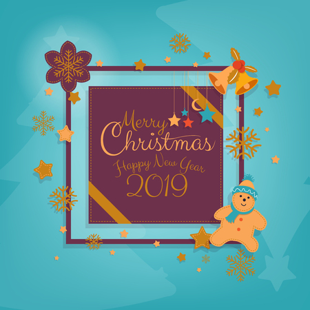 Happy New Year and Merry Christmas greeting card design for banner, brochure with calligraphic hand written for winter holiday banner. Vector illustration.