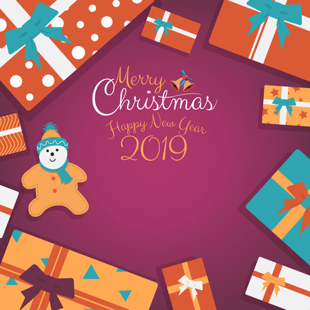 Happy New Year and Christmas presents, gifts with cartoon, cookies and calligraphy hand written script with copy space. Vector illustration. 矢量图像