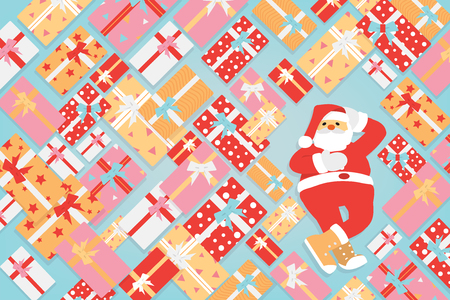 Santa Claus cartoon character funny pose with a bunch of Christmas and New Year gifts box. Vector illustration.