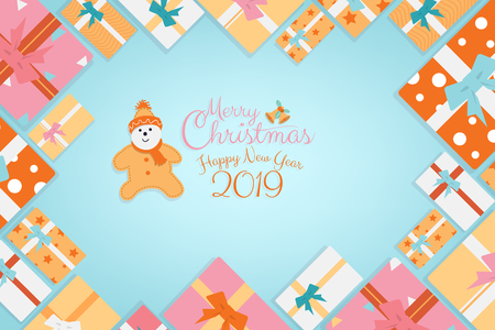 Christmas cartoon character background with gifts, presents box as frame and Merry Christmas and Happy New Year 2019 calligraphy hand script banner, brochure, invitation card design with copy space.