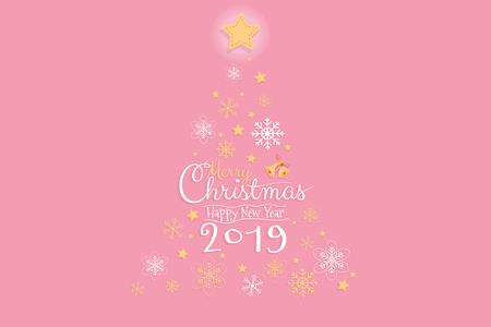 Merry Christmas and Happy Nea Year 2019 invitation card, banner design with Calligraphy hand script with pink background. Vector illustration. 矢量图像