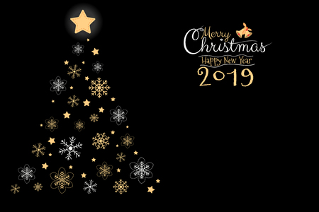 Merry Cristmas and Happy New Year 2019 greeting card, banner, brochure with black background with copy sspace. Calligraphy hand script vector illustration..