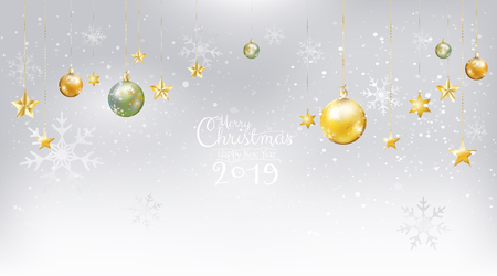 Merry Christmas and Happy New Year 2019 with calligraphic on white snow background decoration with gold, jade Xmas balls with star ornaments hanging. Vector illustration.