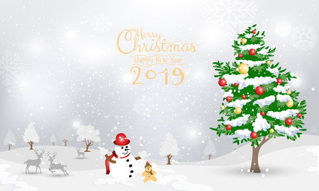 Snowman and Christmas tree on snow background design for invitation, greeting card. Merry Christmas and Happy New Year 2019 calligraphy on winter snow background. Vector illustration.