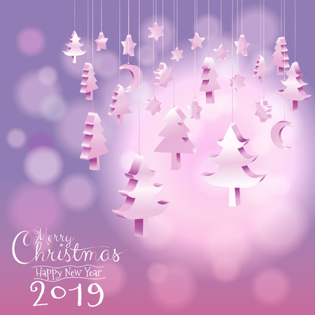 Happy New Year 2019 and Merry Christmas tree ornaments hanging rope in isometric 3D with calligraphy bokeh blurry sweet purple pink background with copy space, Vector illustration EPS10 矢量图像
