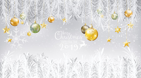 Merry Christmas and Happy New Year 2019 with calligraphy decoration with gold, jade Xmas balls with star ornaments hanging on white tree fir branches on snow background. Vector illustration.
