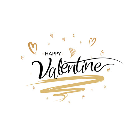 Happy valentines day calligraphy with art brush style, Vector illustration hand drawing lettering design. Vettoriali