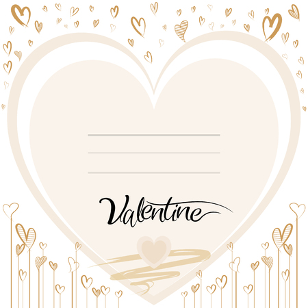 Happy valentine love greeting card template with calligraphic text, heart shape hand draw on white background, Vector illustration
