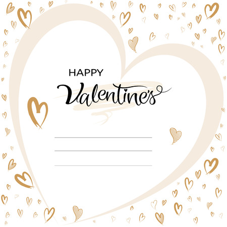 Valentines greeting card typographic with hand drawn heart shape with copy space on white background, Vector illustration