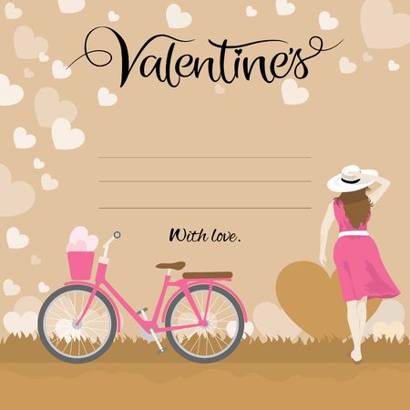 Happy valentines day greeting card, love card template with typography text with beautiful woman and bicycle, Vector illustration