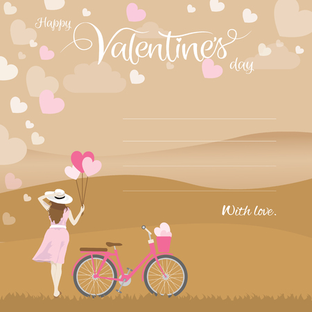 Woman holding heart shape balloons and bicycle with basket full of hearts looking at the landscape view with handwritten calligraphy text of happy valentines day.
