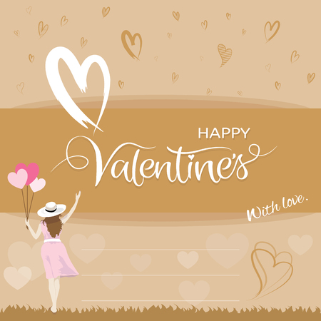 Back side of beautiful happiness woman holding heart shape balloons and raising hand, Happy valentines day concepts, Vector illustration.