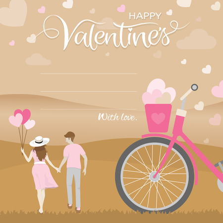 Romantic moment of happiness couple hold hand with heart shape balloon in woman hand with part of bicycle in foreground. Happy valentines day greeting card concept. Vector illustration.