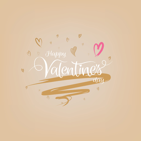Happy valentines day greeting card with typography art brush hand drawing lettering style, Vector illustration