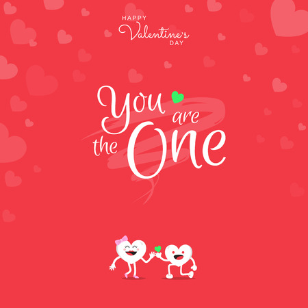 Happy Valentine's Day greeting card with handwriting calligraphy You are the one on red background and heart cute cartoon character. Vector illustration. 矢量图像