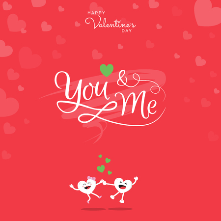 Happy Valentine's greeting card with handwritten calligraphy