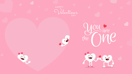 Valentines day background with cute heart cartoon character with calligraphy You are the one. Vector illustration. Wallpaper, flyers, invitation, posters, brochure, banners. Vettoriali
